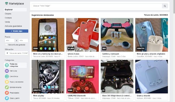Facebook tiene una seccion de tienda donde puedes entrar y vender