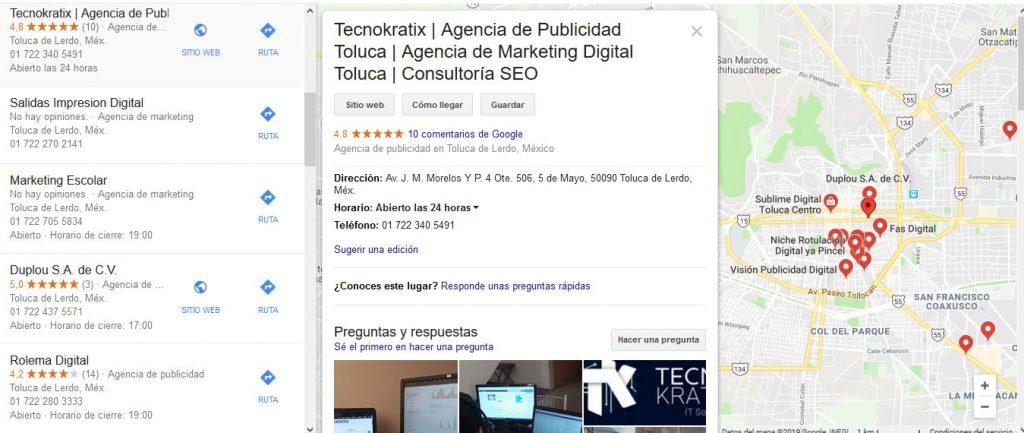 vista de mapa de agencia de publicidad digital en google maps tecnokratix